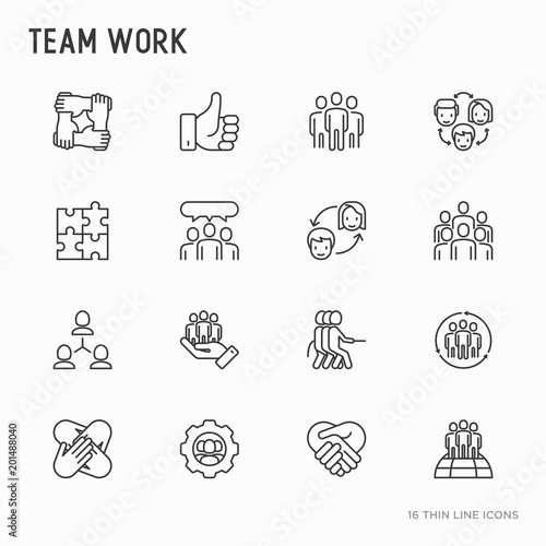 Fotomural Teamwork thin line icons set: group of people, mutual assistance, meeting, handshake, tug-of-war, cooperation, puzzle, team spirit, cooperation