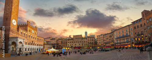 Siena. Piazza del Campo at sunset. Tuscany, Italy