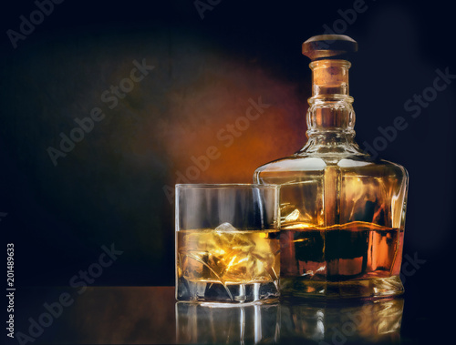 Glass of whiskey and stylish bottle on dark glassy table