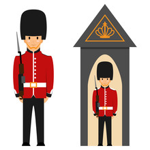 London Queen's Guard. Vector Flat Illustration Of A British Soldier In Uniform With A Gun Isolated On White Background.