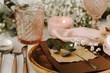 Leinwandbild Motiv Wedding dinner table served with rustic decorations