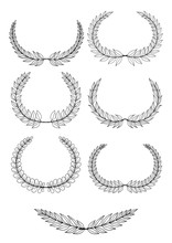 Different Black And White Silhouette Circular Laurel Foliate, Wheat And Oak Wreaths Depicting An Award, Achievement, Heraldry, Nobility. Vector Illustration.Botanical Wreaths Set.