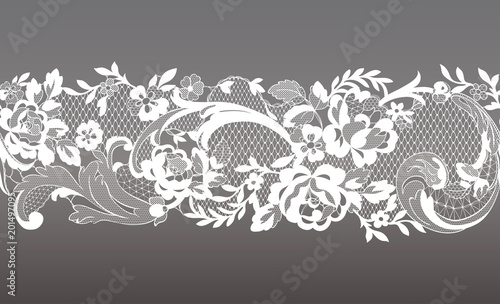 Leinwand Poster floral seamless lace ribbon