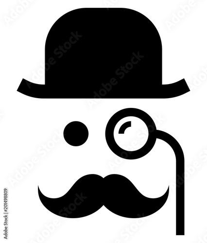Fotografie, Obraz Gentleman with monocle icon
