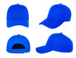 canvas print picture - blank blue baseball cap 4 view on white background