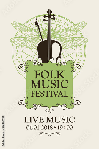Fototapety Muzyka vector-poster-for-a-festival-of-folk-music-with-violin-and-bow-on-the-background-of-abstract-pattern-with-a-dragonfly-in-retro-style