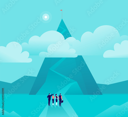 Foto op Plexiglas Turkoois Vector business concept illustration with businessmen, women standing in front of mountain pic & watching on top. Metaphor for growth, new aim & goal, team work & partnership, aspiration, motivation.