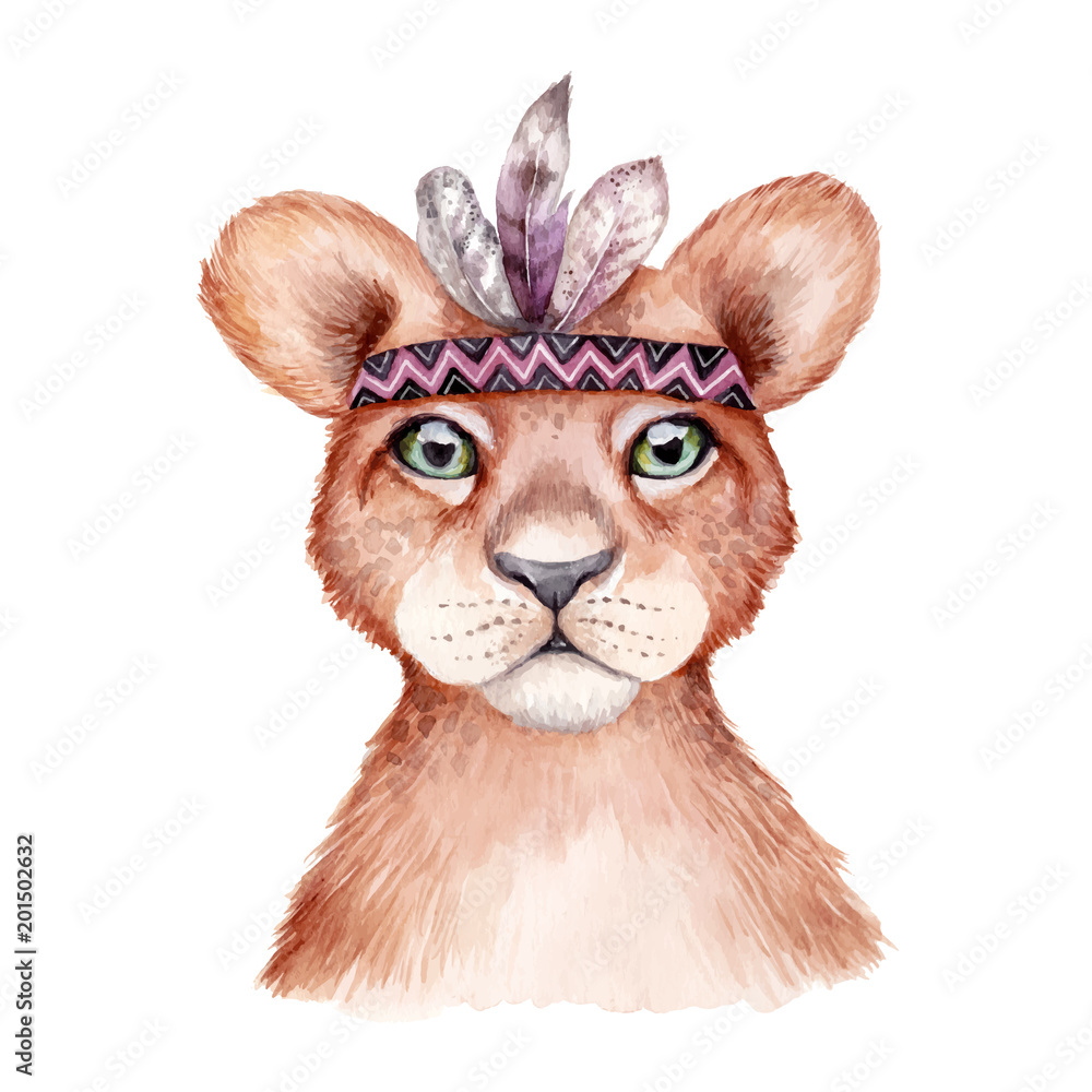 Cute wild boho animal. Lion portrait with feathers. Watercolor illustration, perfect for nursery room poster