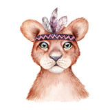 Cute wild boho animal. Lion portrait with feathers. Watercolor illustration, perfect for nursery room poster - 201502632