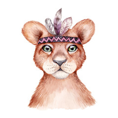 Panel Szklany Boho Cute wild boho animal. Lion portrait with feathers. Watercolor illustration, perfect for nursery room poster