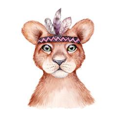 Fototapeta Boho Cute wild boho animal. Lion portrait with feathers. Watercolor illustration, perfect for nursery room poster