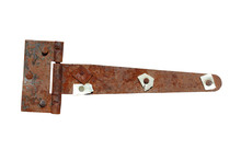 An Old Rusty Metal Loop For The Door. Close-up. Isolated On White Background.