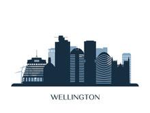 Wellington Skyline, Monochrome Silhouette. Vector Illustration.