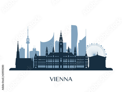 Vienna skyline, monochrome silhouette. Vector illustration. Wallpaper Mural