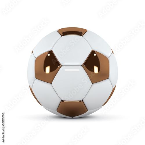 Staande foto Bol White and Gold soccer ball on white background. Golden 3d football ball