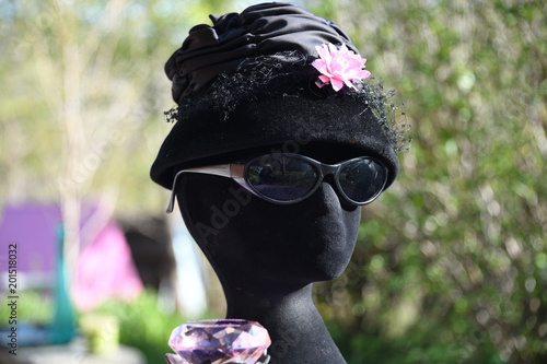 """Breakfast with Tiffany"" vintage flapper fashion hat with pink flower and champa Wallpaper Mural"