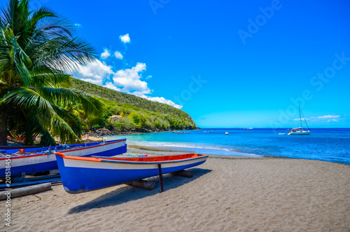 Caribbean Martinique beach beside traditional fishing boats Poster Mural XXL