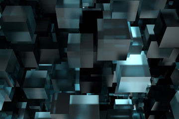 Abstact modern background with cubes. 3d rendering.
