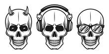 Set Of Three Different Skulls Vector Elements