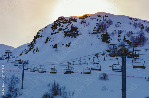 Fototapety, obrazy: Chairlifts and sunset over the ski station of Piau-Englay, Pyrenees, France
