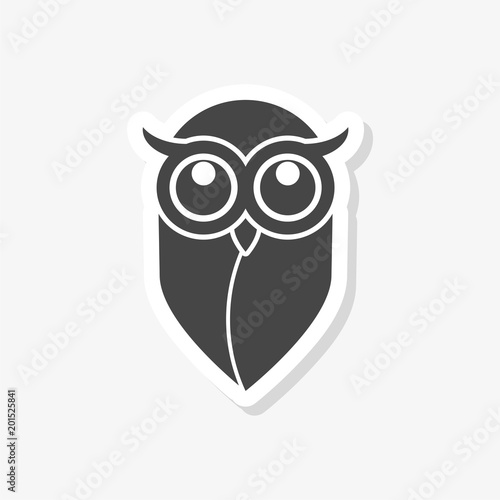 Photo Stands Owl sticker, Owl logo, Owl illustration, simple vector icon
