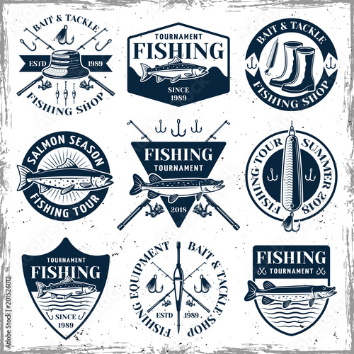 Fotografía  Fishing set of nine vector vintage emblems