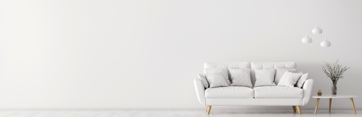 Interior with white sofa and coffee table 3d rendering