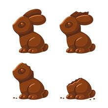 Cute Chocolate Bunny Being Eaten