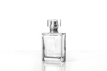 Perfume Bottle, Transparent Glass Fragrance Spray Isolated On White Background