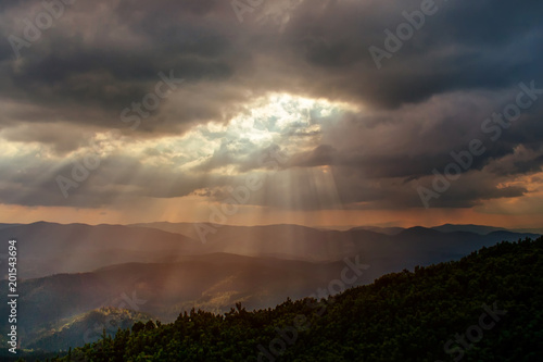 Deurstickers Zwart Evening in the mountains. Beautiful nature landscape, amazing mountain view. Carpathian, Ukraine.
