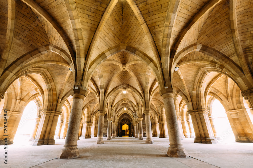 Fototapety, obrazy: The Cloisters (also known as The Undercroft) - iconic part of the University of Glasgow main biulding in Glasgow, Scotland, United Kingdom.