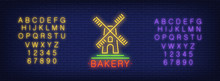 Neon Alphabet And Mill With Bakery Lettering Over Brick Background. Food Store, Organic Food, Small Business. Advertisement Concept. For Signboards, Template Design, Banners