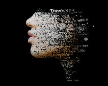 Paintography. Double Exposure Of Hand Drawn Painting Combined With A Close Up Profile Portrait With THANK YOU Words Embedded