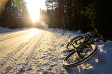 Mountain Bicycle On The Snowy ...
