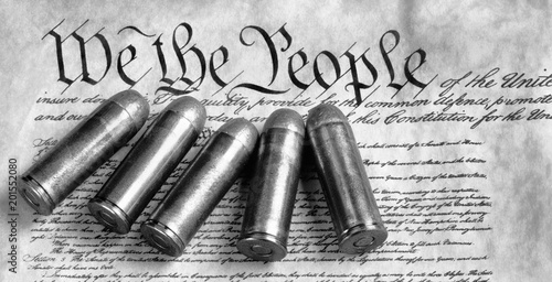 Cuadros en Lienzo We the People. with bullets and in black and white.