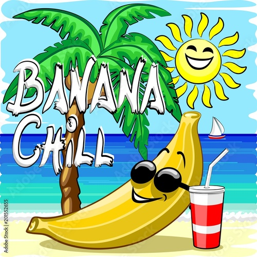Keuken foto achterwand Draw Banana Chill Happy Summer Cartoon Character with Text