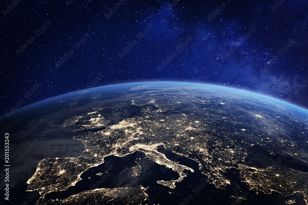 Fototapety, obrazy: Europe at night from space, city lights, elements from NASA