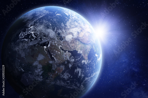 3D render of planet Earth from space, elements from NASA