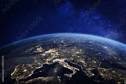 Foto  Europe at night from space, city lights, elements from NASA