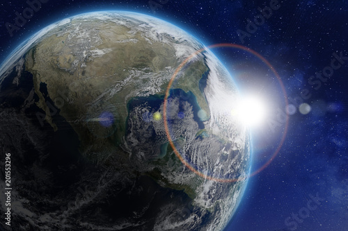 Fotografía  Planet Earth viewed from space, sun. World image from NASA