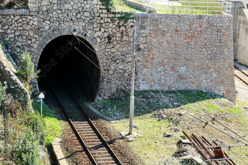 Old railway track and tunnel.