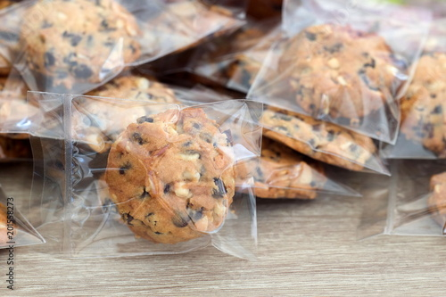 Fotobehang Koekjes Cookie in plastic wrap packaging.