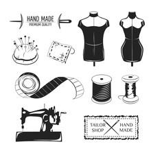 Set Of Vintage Tailor Labels, ...