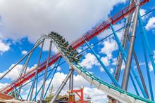 Roller Coaster In Sunny Day In...