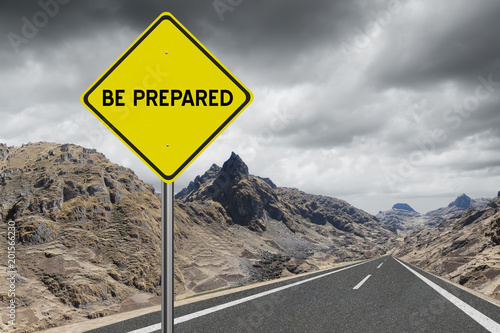 Be Prepared highway sign on storm cloud background Poster Mural XXL