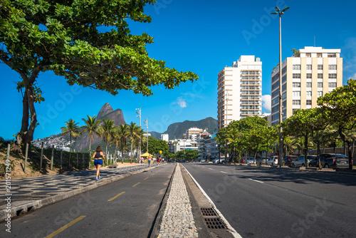Cycling Path Along Ipanema Beach in Rio de Janeiro, Brazil