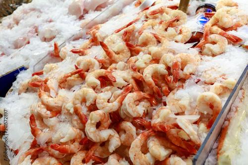 Photo  Fresh seafood display at Public Market Center, Seattle landmark