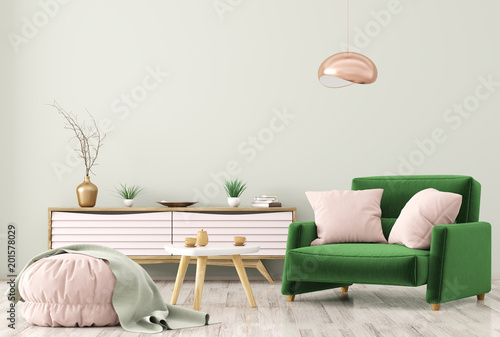 Fotografia  Interior of living room with dresser and armchair 3d rendering
