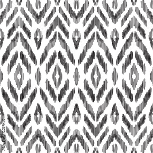 In de dag Boho Stijl Black and white ikat tribal textile modern pattern. Seamless background. Graphic design for cover, rug, carpet, wallpaper, clothing, wrapping, fabric. Vector illustration.