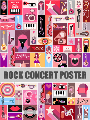 Foto op Canvas Abstractie Art Rock Concert Poster